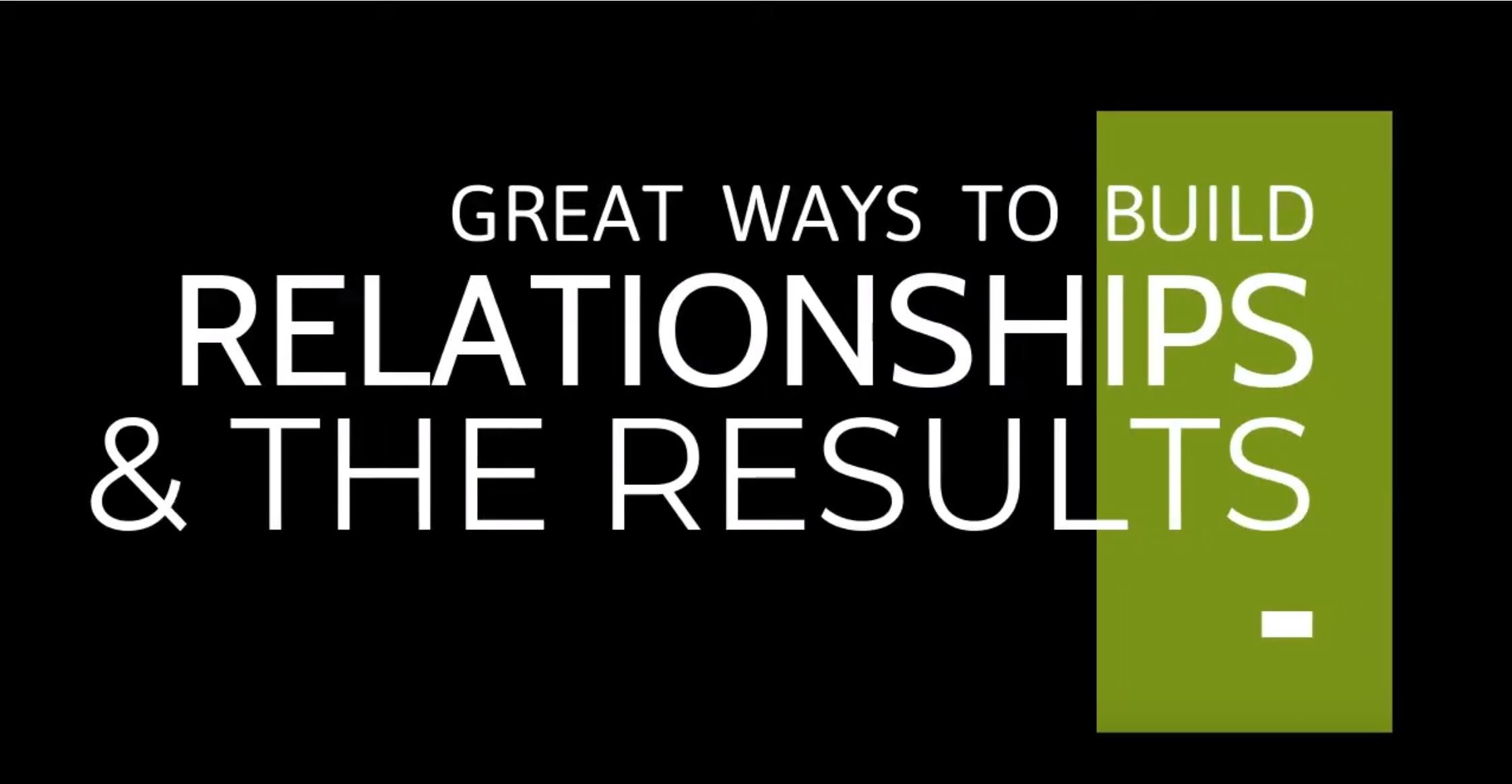 Great ways to build relationships- chris freeze